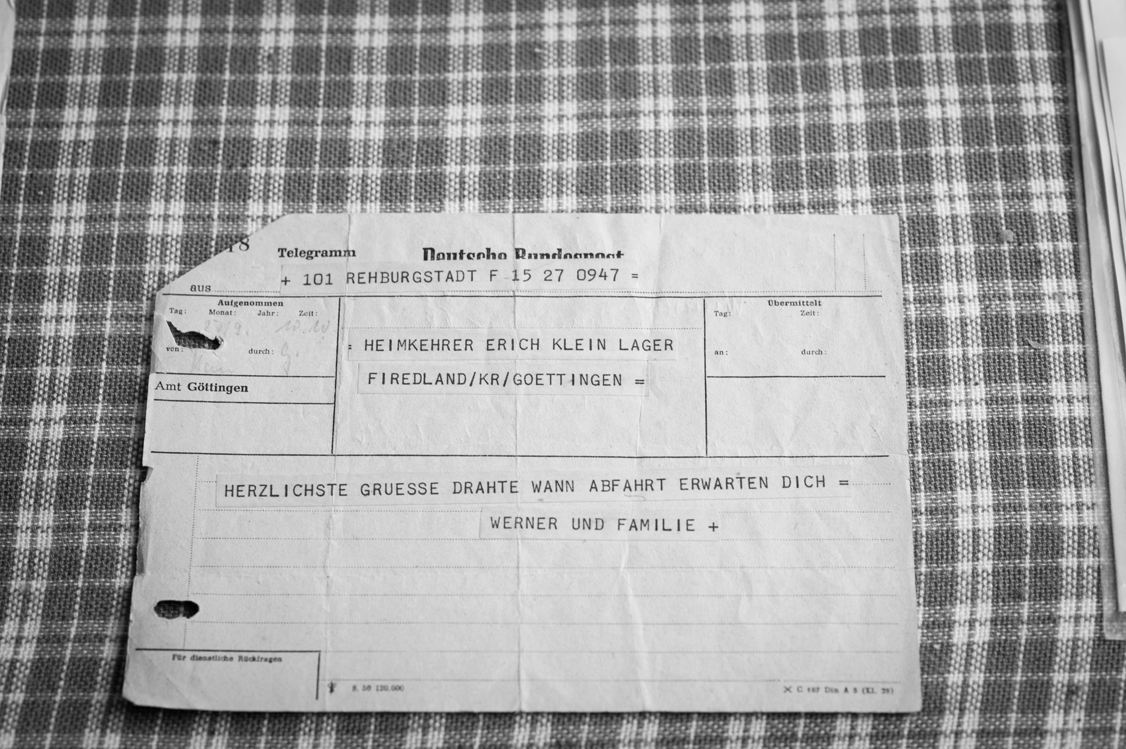 "Telegram addressed to ""Returnee Erich Klein, Camp Friedland"": ""Most heartfelt wishes. Let us know departure date. Awaiting you – Werner and family"" (1953)"